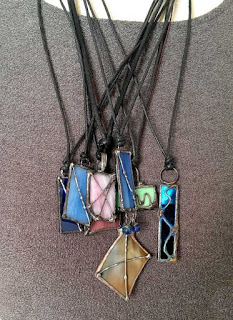 Polished and Strung Soldered Glass Pendants