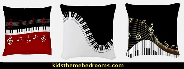 Piano Keyboard throw pillows  Music bedroom decorating ideas - rock star bedrooms - music theme bedrooms - music theme decor - music themed decorations - bedding with musical notes