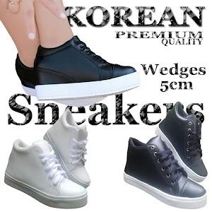 Sneakers Wanita Hak Tinggi 5cm / Sepatu Sneaker Cewek Hitam Putih
