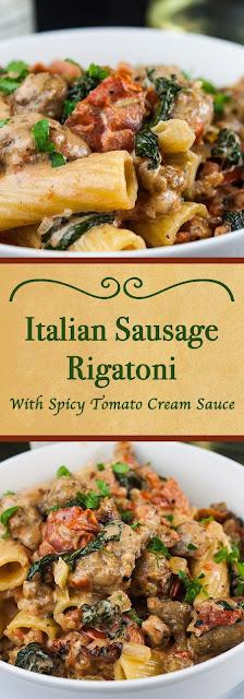 Italian Sausage Rigatoni with Spicy Tomato Cream Sauce