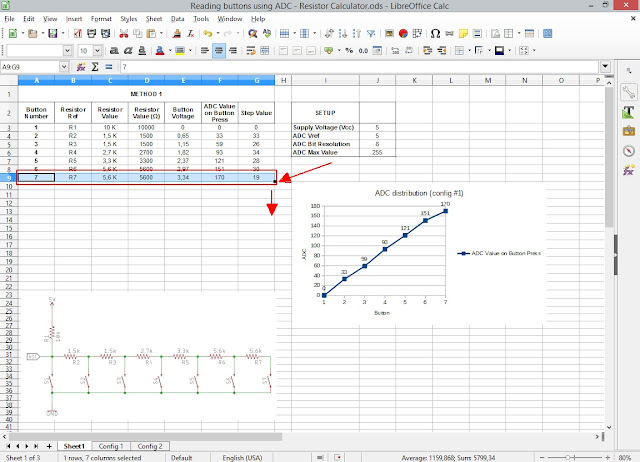 Spreadsheet for calculating resistors in ADC switch reading