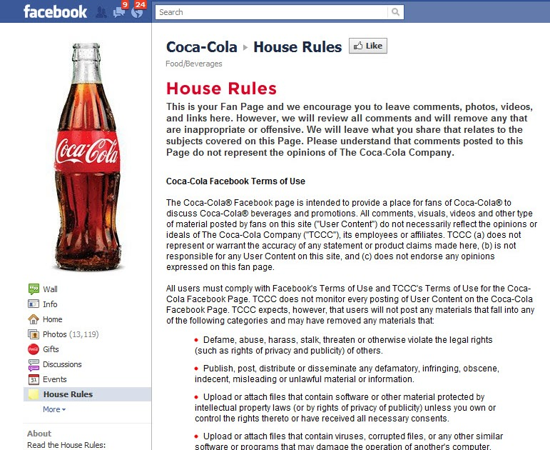 Simple Marketing Blog: Facebook Fan Page Guidelines or House Rules
