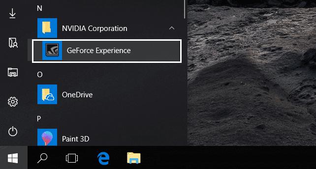 فتح برنامج GeForce Experience