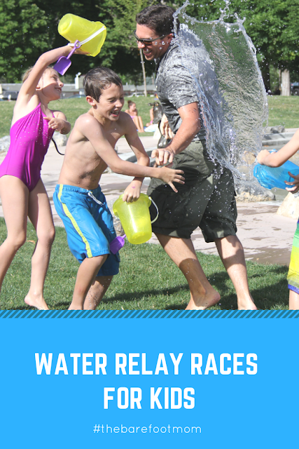 5 fun water relay races for kids #thebarefootmom