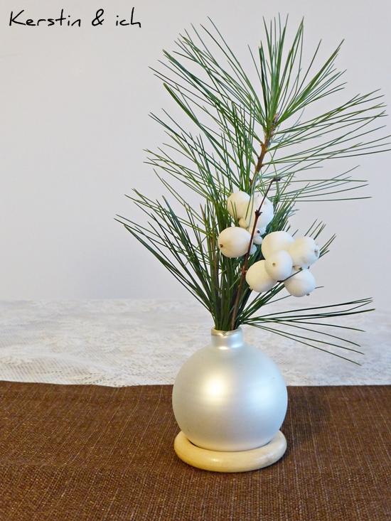 Kerstin ich selbermachen weihnachtliche tischdeko mit - Christbaumkugeln selber machen ...
