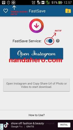 cara menyimpan foto dari instagram menggunakan fastsave/instasave