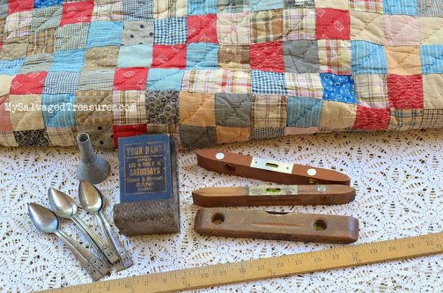 vintage hand quilted quilt match tin yardstick