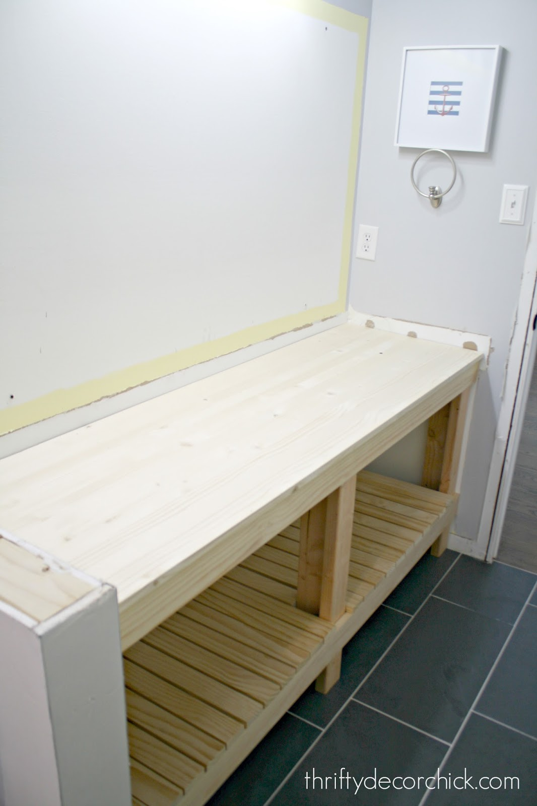 How to build a diy open bathroom vanity from thrifty decor for D i y bathroom installations