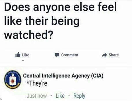 Does anyone else feel like their being watched? CIA: they're