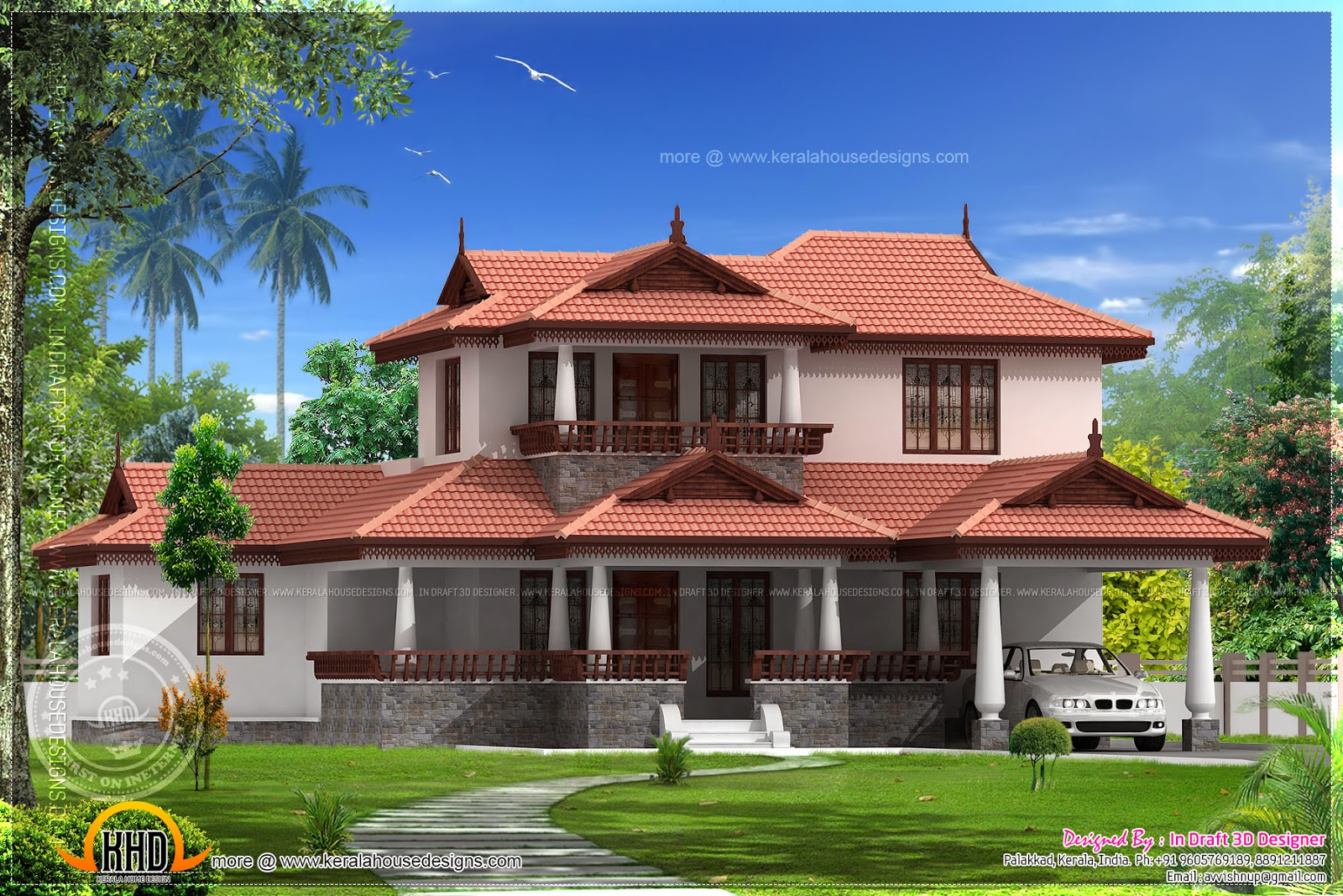 3 bedroom kerala model home elevation kerala home design for Kerala 3d home floor plans