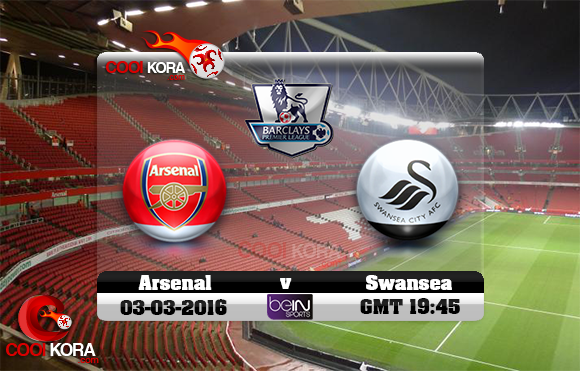 مشاهدة مباراة آرسنال وسوانزي سيتي اليوم 2-3-2016 في الدوري الإنجليزي