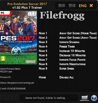 PES 2017 Trainer v1.02 Plus 7 Trainer Tool by FLiNG