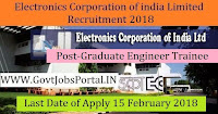 Electronics Corporation of India Limited Recruitment 2018 – 84 Graduate Engineer Trainee