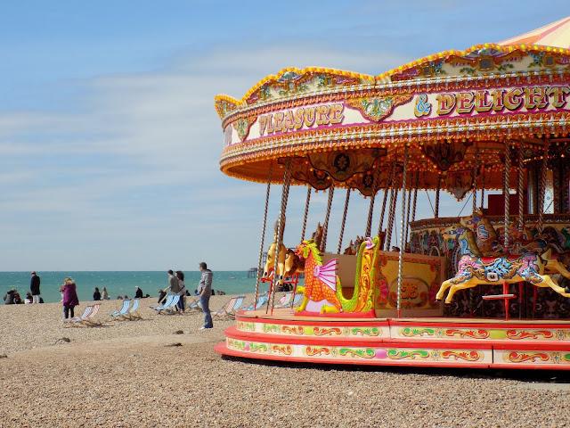 Brighton Pier seaside sea blue skies in summer