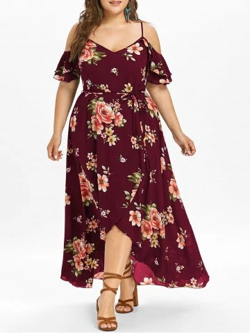 Plus Size Cold Shoulder Floral Maxi Flowing Dress