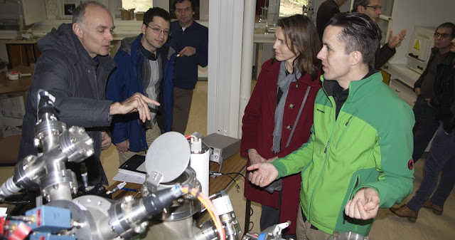 Principal Investigator Ricardo Arevalo (right), Adrian Southard (center), and Cynthia Gundersen (standing next to Arevalo) are members of the international CRATER development team, which met in France earlier in 2018 to discuss the path forward for advancing the CosmOrbitrap mass analyzer, a key component of the CRATER instrument targeting the in-situ exploration of the lunar surface. Others in the room are associated with the French team. Credits: C. Briois