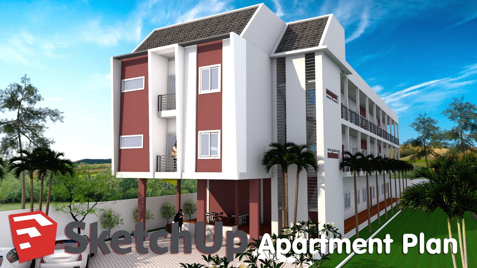 Sketchup model apartment design plan a01 ma house plan for Apartment model house
