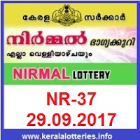 Kerala lottery result of Nirmal Lottery NR-37 on 29-09-2017