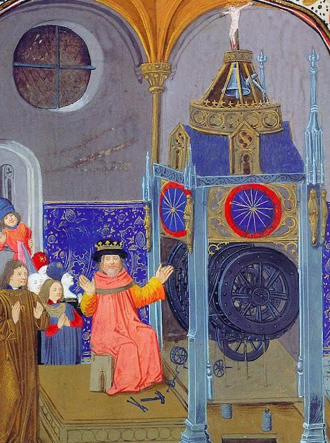 """Maestro relojero. Jean Suso, """"L'horloge de la Sapience"""", siglo XV.  BnF, français 455, folio 4"""