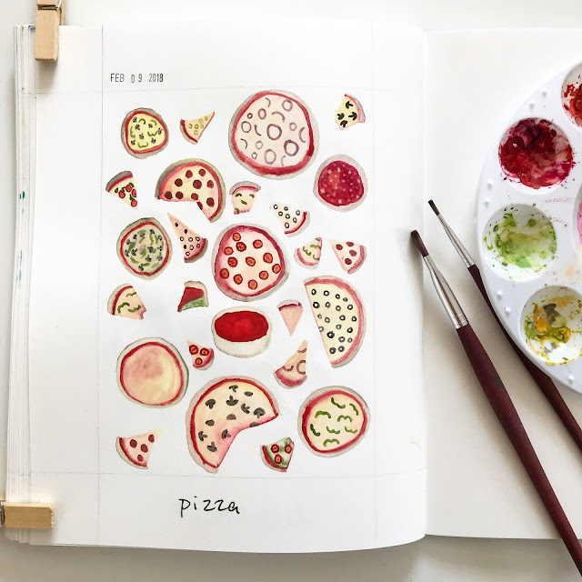 painting, gouache, sketchbook, pizza, Anne Butera, My Giant Strawberry