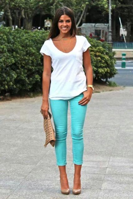Para VerdeMaquillajeBelleza Mujer Moda Color Pantalones Y La D2IH9YWeEb