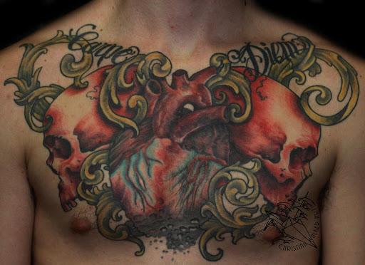 Melhor crânio tatuagem no peito para homens que já