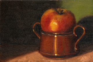 Oil painting of a Pink Lady apple resting in the top of a small copper pot.