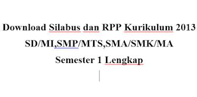 Download Silabus dan RPP Kurikulum 2013 SD/MISMP/MTSSMA/SMK/MA  Semester 1 Lengkap