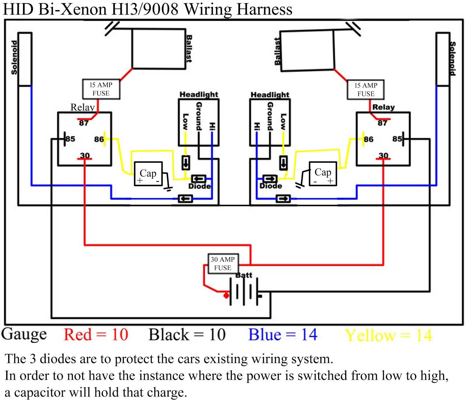 Hhr Retrofit With Lots Of Questions Hidplanet The Official Car Wiring Diagram I Would Like To Know If This Is Correct And What Values Should Use For Diodes Capacitors Gauge Wires