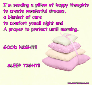 I'm sending a pillow of happy thoughts to create wonderful dreams, a blanket of care to comfort you all night and A prayer to protect until morning. GOOD NIGHT!! SLEEP TIGHT!!