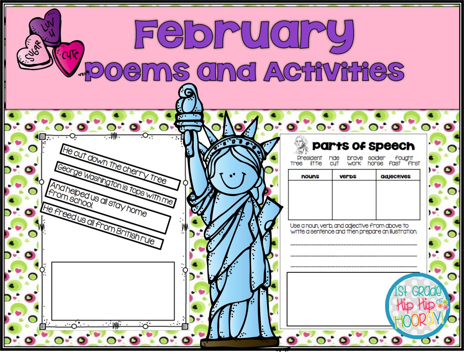 1st Grade Hip Hip Hooray February Poems And Activities