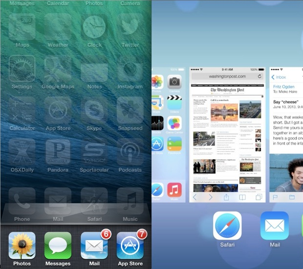 iOS 7 Vs iOS 6 Multitasking