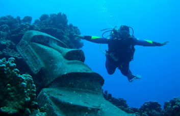 Submerged Moai, Easter Island, South Pacific.