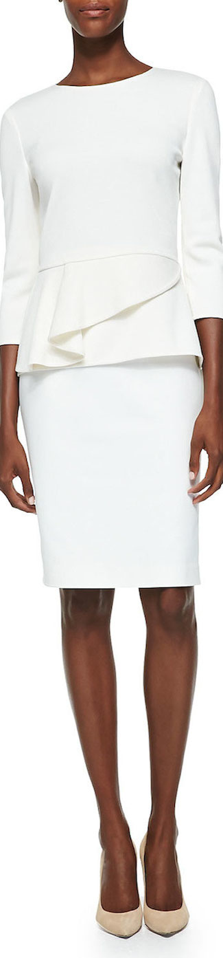 St. John Collection Milano Knit Jewel Neck Peplum Top