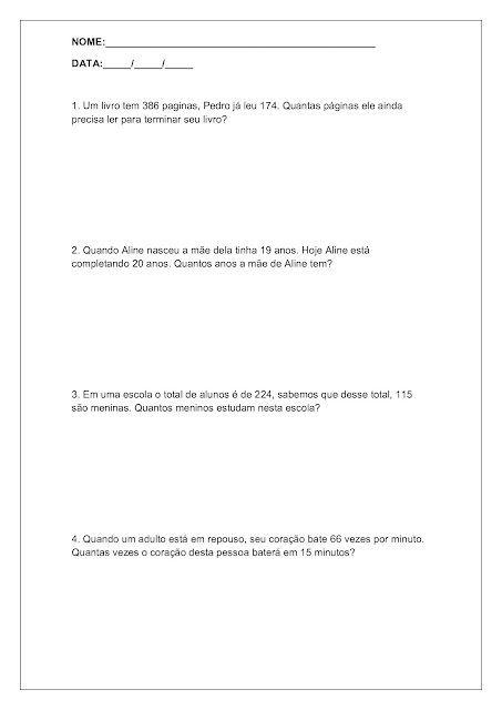 Problemas de matemática 4 ano para imprimir