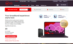 Virgin Media offers cable broadband with speeds up to 152 Mb