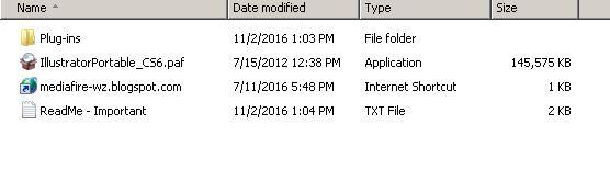 Adobe Illustrator CS6 Portable file list