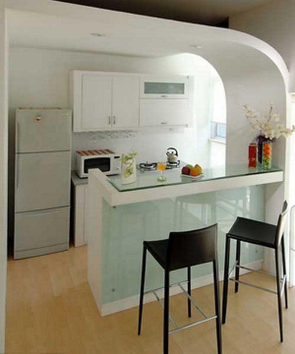 gambar interior desain dapur mungil mini bar modern