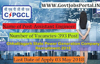 Chhattisgarh State Power Holding Company Limited Recruitment 2018– 393 Assistant Engineer & Junior Engineer Trainee