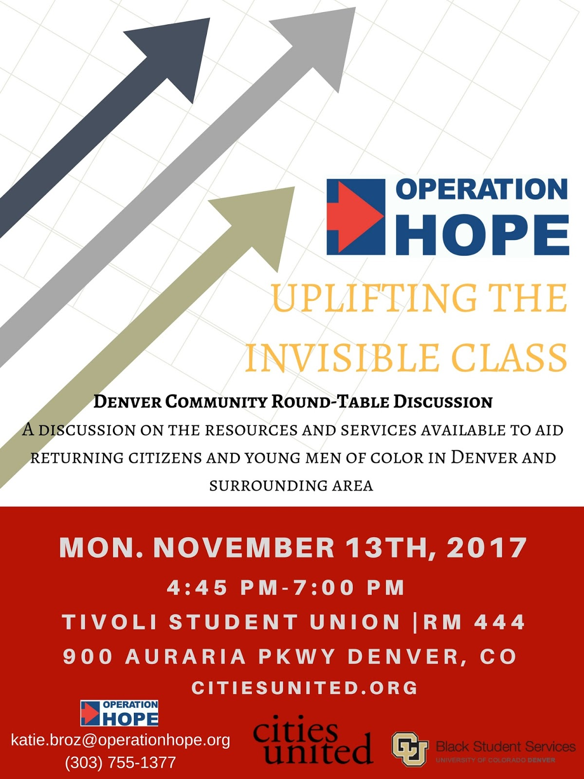 Round table discussion flyer - In Conjunction With Cities United Operation Hope Denver Invites You To Attend Our Denver Community Round Table Discussion Uplifting The Invisible Class