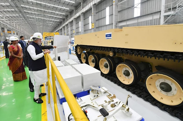 Image Attribute: K9-VAJRA-T's Assembly Line at L&T Defence's Armoured Systems Complex in Hazira, Gujarat / Source: Press Information Bureau (India)