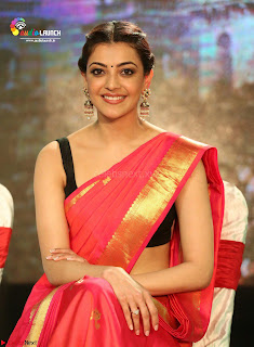 Kajal Agarwal in Red Saree Sleeveless Blouse Stunning Pics  Exclusive Galleries 004.jpg