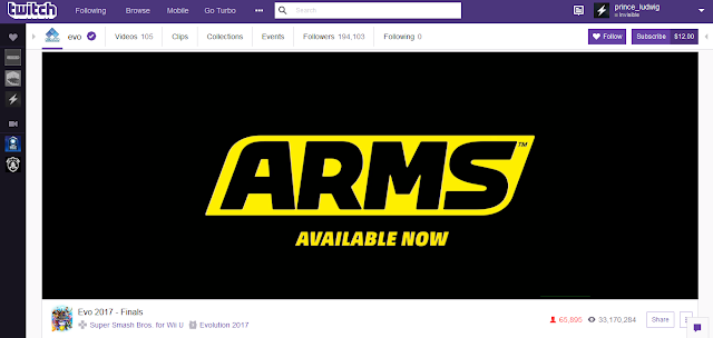 ARMS Available Now advertisement ad commercial Twitch EVO 2017