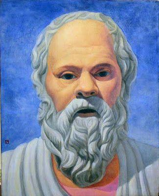 Pintura de Sócrates con el pelo y la barba blancos