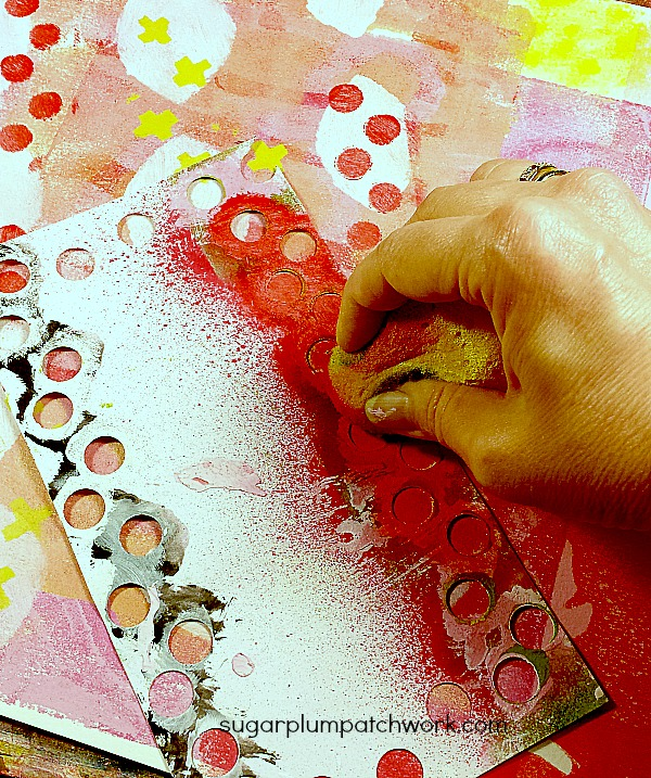 stenciling a mixed media page