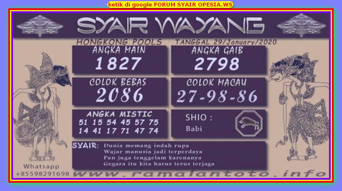 Kode syair Hongkong Rabu 29 Januari 2020 204
