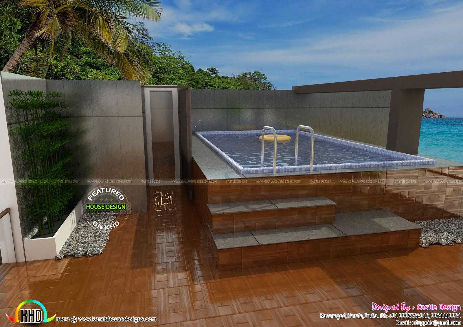 House With Terrace Swimming Pool Kerala Home Design And Floor Plans 8000 Houses