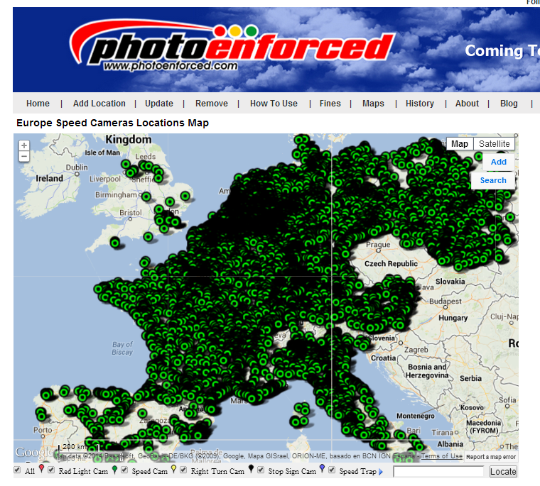 Photo Enforced Europe Speed Cameras Locations Map France