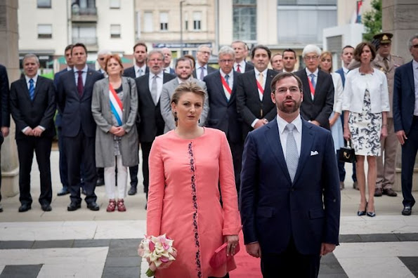 Hereditary Grand Duke Guillaume and Hereditary Grand Duchess Stéphanie visited Esch-sur-Alzette. Luxembourg's Grand Ducal family Celebrates Luxembourg National Day .