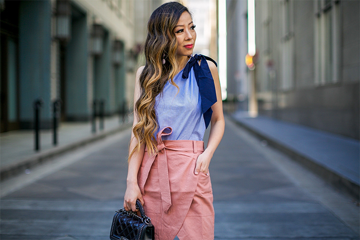 halogen one shoulder bow top, one shoulder bow top, madewell Portside Faux Wrap Silk Skirt, bow knot wrap skirt, chanel boy bag, hush puppies sandals, baublebar crispin drop earrings, san francisco street style, san francisco fashion blog, summer outfit ideas